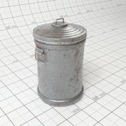 Galvanized Steel Trash Can 3d model