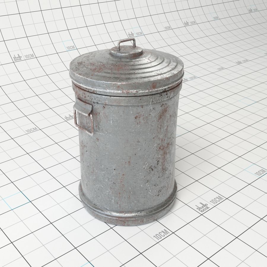 Galvanized Steel Trash Can royalty-free 3d model - Preview no. 1