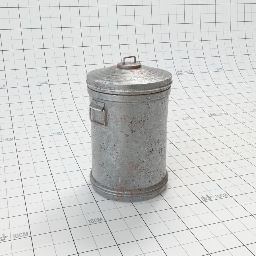 Galvanized Steel Trash Can royalty-free 3d model - Preview no. 3
