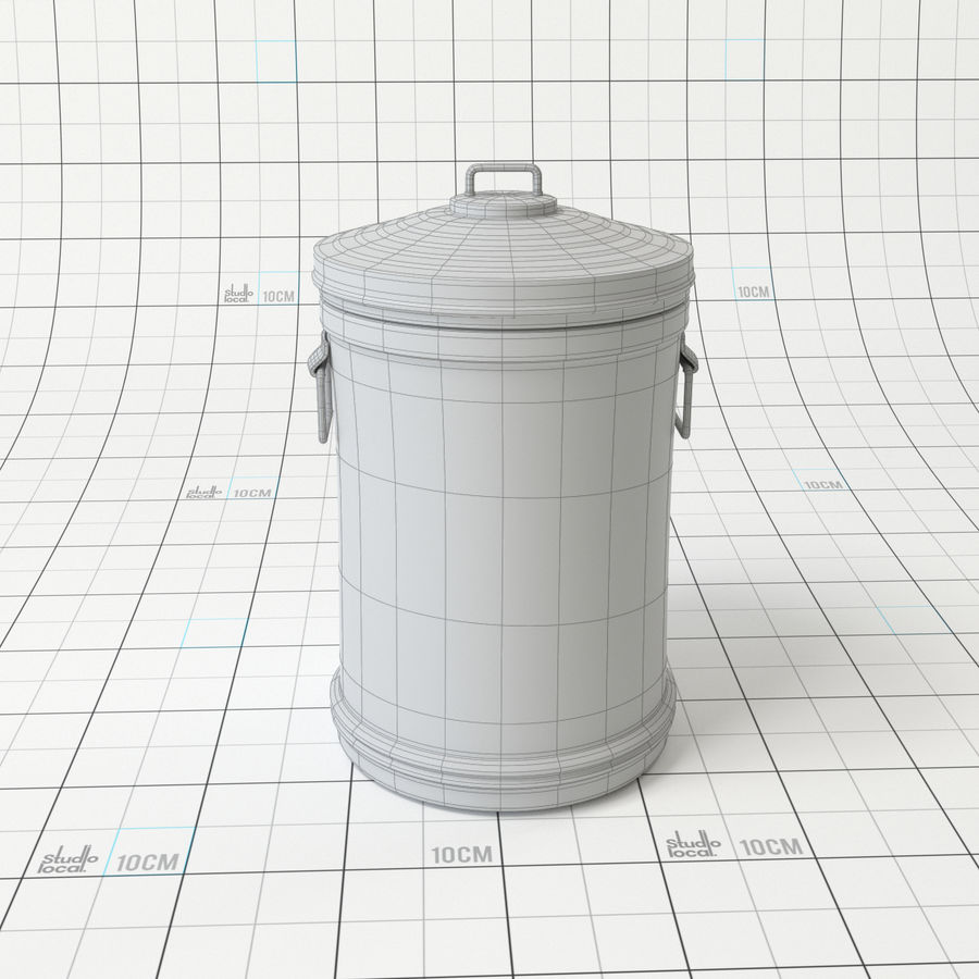 Galvanized Steel Trash Can royalty-free 3d model - Preview no. 5