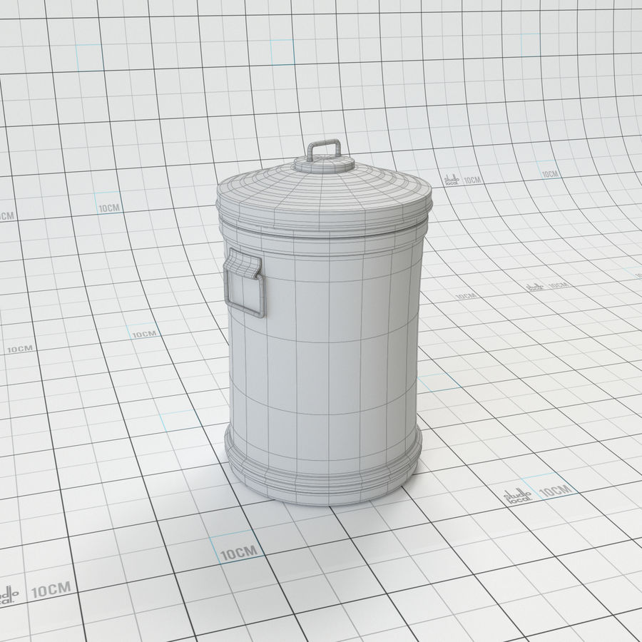 Galvanized Steel Trash Can royalty-free 3d model - Preview no. 6