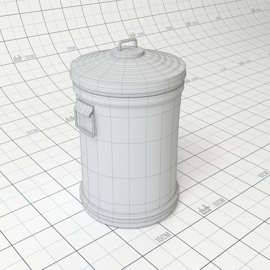 Galvanized Steel Trash Can royalty-free 3d model - Preview no. 4