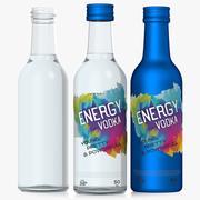 Glasflasche 5 cl. Alkoholflasche. Metallflasche 3d model
