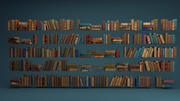 Livres anciens arrangés stylisés 3d model
