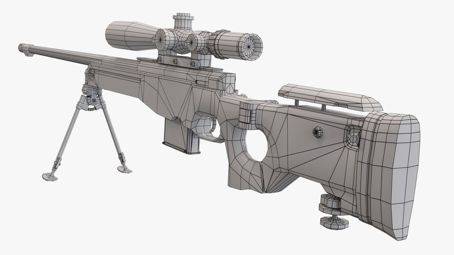 L115a3 Low poly sniper rifle royalty-free 3d model - Preview no. 25