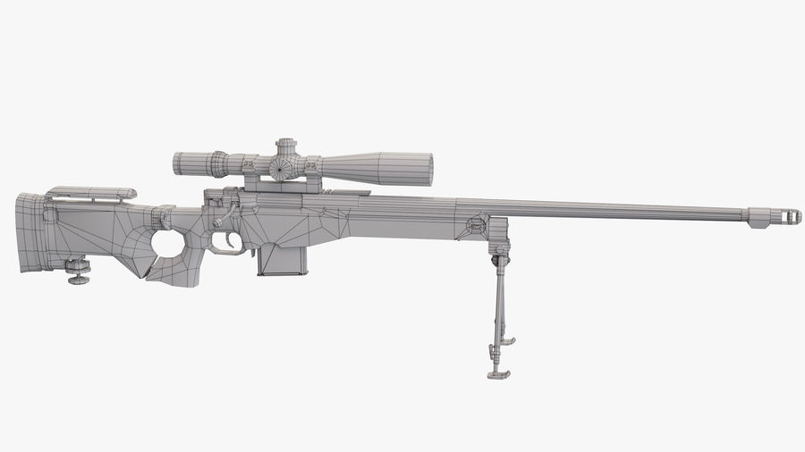 L115a3 Low poly sniper rifle royalty-free 3d model - Preview no. 24