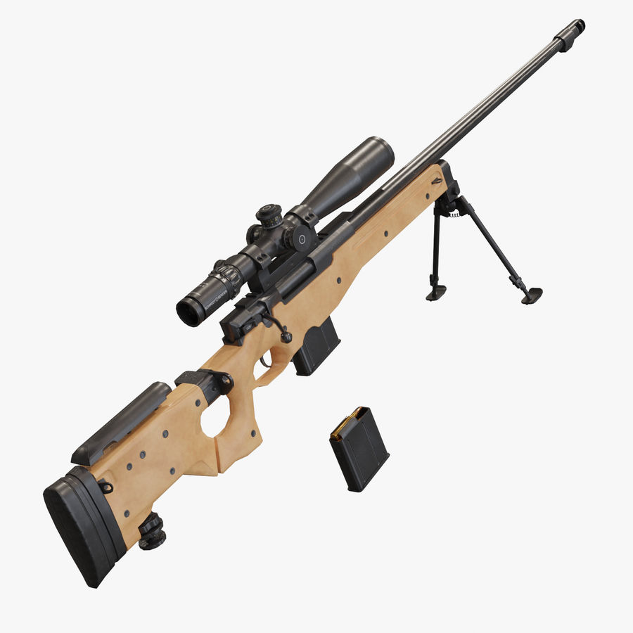 L115a3 Low poly sniper rifle royalty-free 3d model - Preview no. 1
