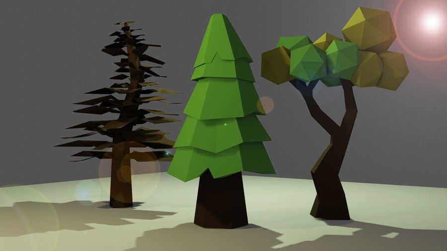 Bomen Laag Poly royalty-free 3d model - Preview no. 2