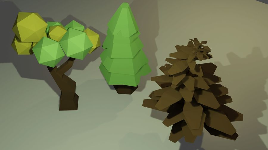 Bomen Laag Poly royalty-free 3d model - Preview no. 3