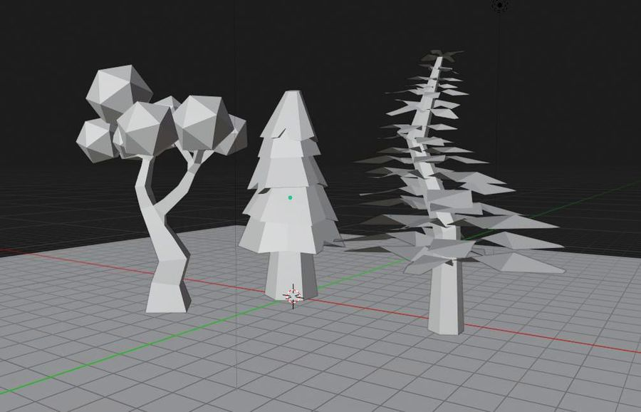 Bomen Laag Poly royalty-free 3d model - Preview no. 6