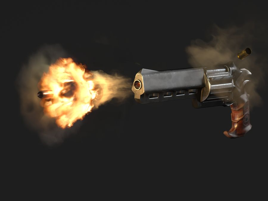 Skull Buster Revolver Pistool royalty-free 3d model - Preview no. 1