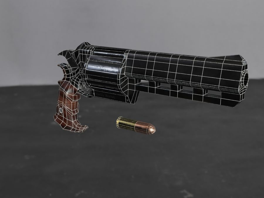Skull Buster Revolver Pistool royalty-free 3d model - Preview no. 34