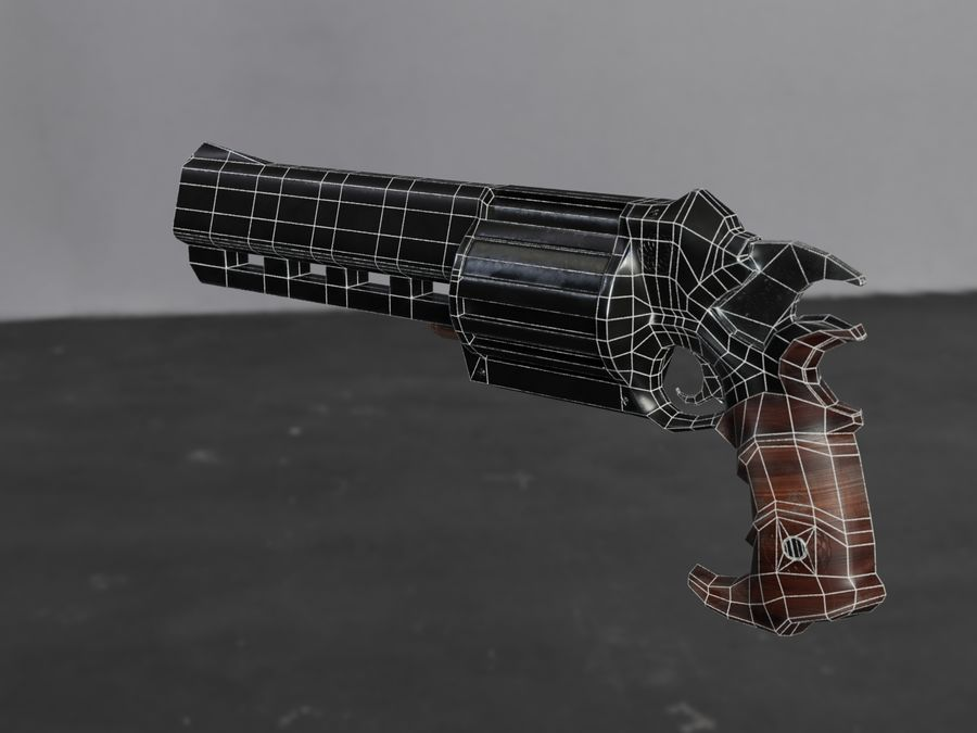 Skull Buster Revolver Pistool royalty-free 3d model - Preview no. 29