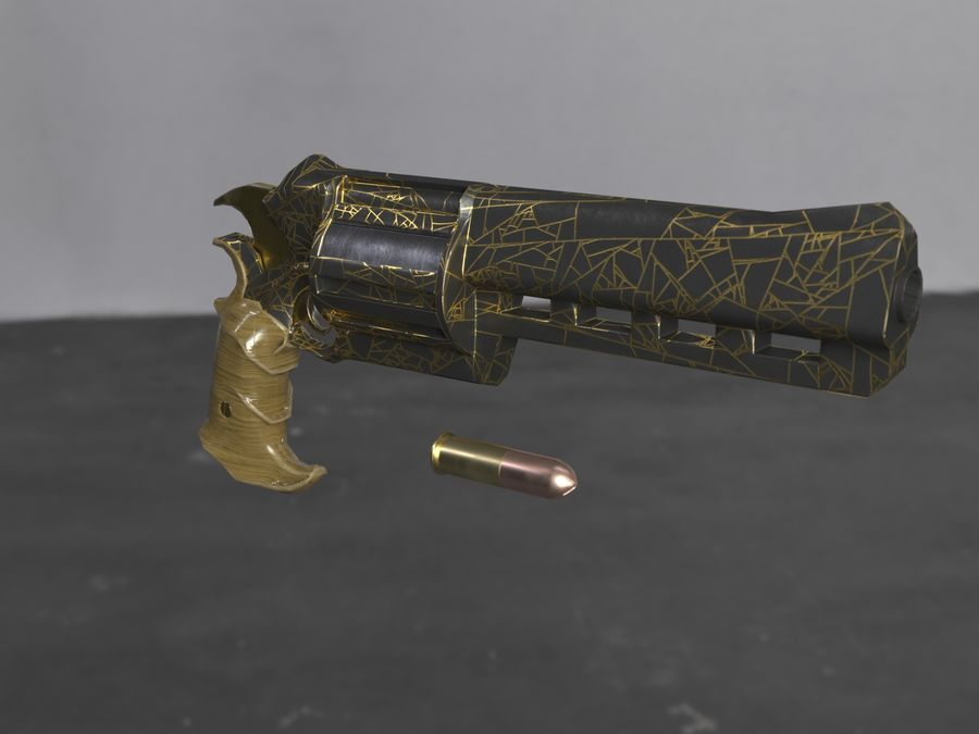 Skull Buster Revolver Pistool royalty-free 3d model - Preview no. 22