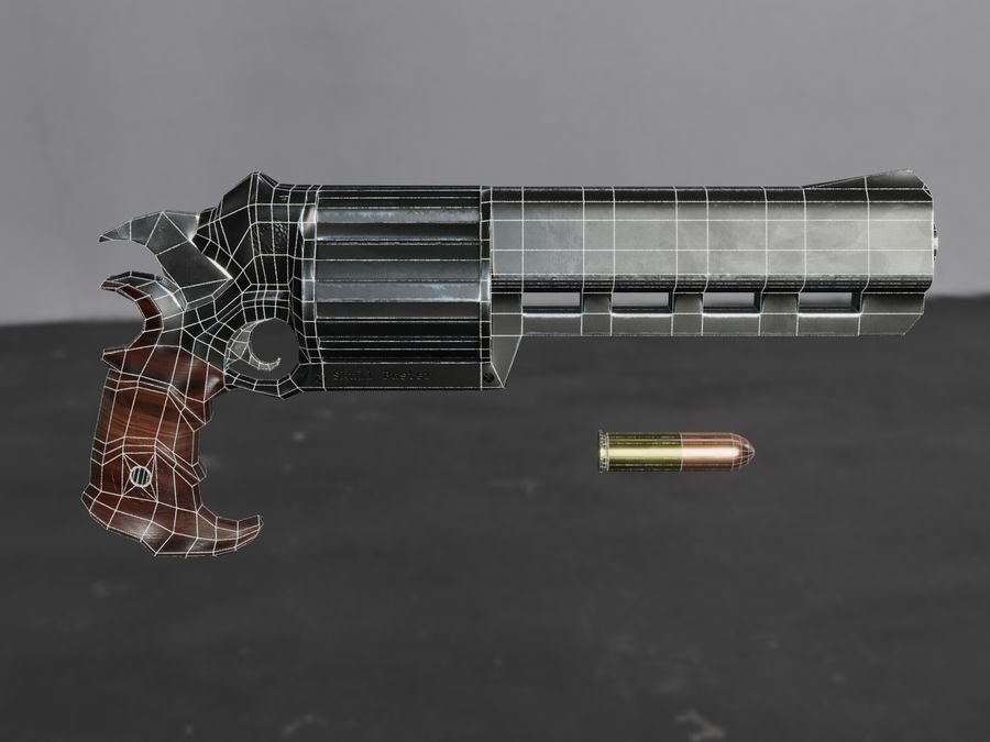 Skull Buster Revolver Pistool royalty-free 3d model - Preview no. 35