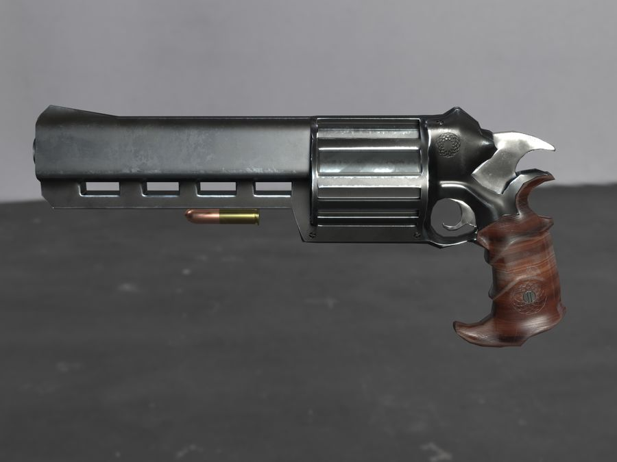 Skull Buster Revolver Pistool royalty-free 3d model - Preview no. 13