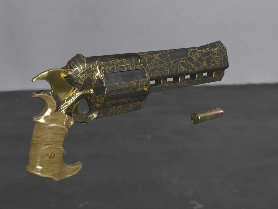 Skull Buster Revolver Pistool royalty-free 3d model - Preview no. 6