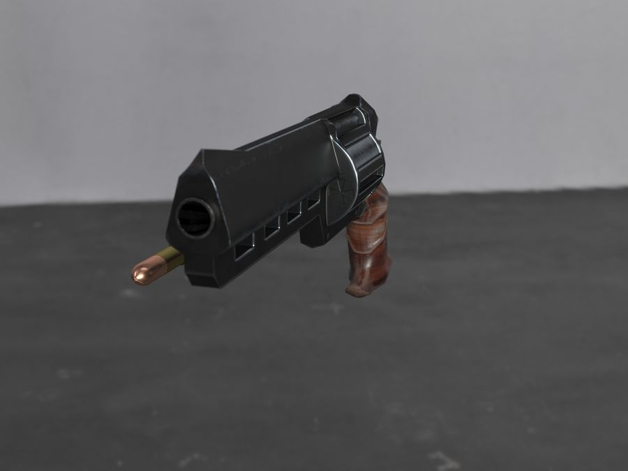 Skull Buster Revolver Pistool royalty-free 3d model - Preview no. 17