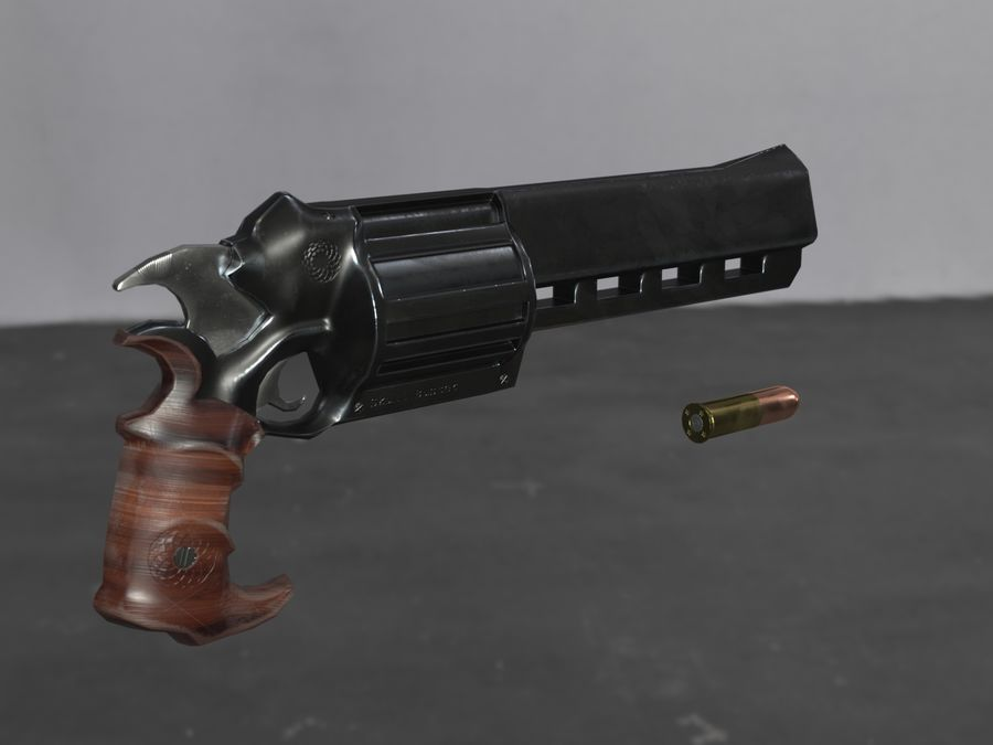 Skull Buster Revolver Pistool royalty-free 3d model - Preview no. 5