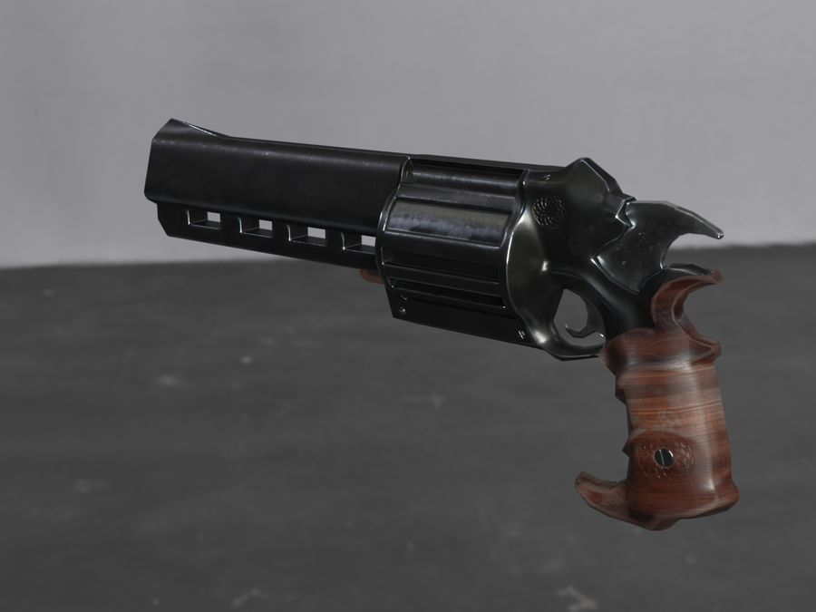 Skull Buster Revolver Pistool royalty-free 3d model - Preview no. 11