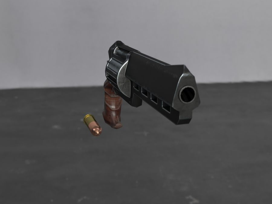 Skull Buster Revolver Pistool royalty-free 3d model - Preview no. 19