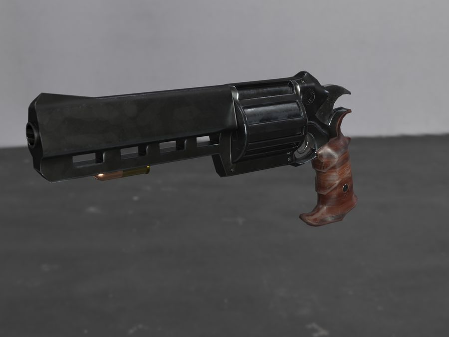 Skull Buster Revolver Pistool royalty-free 3d model - Preview no. 15