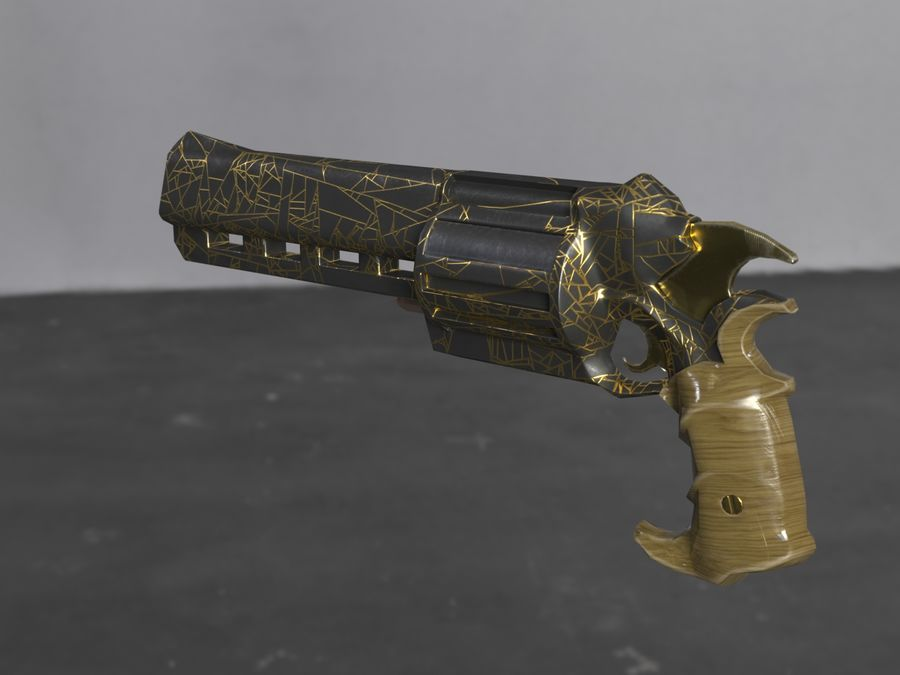 Skull Buster Revolver Pistool royalty-free 3d model - Preview no. 12