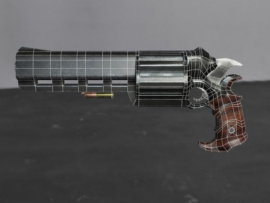 Skull Buster Revolver Pistool royalty-free 3d model - Preview no. 30