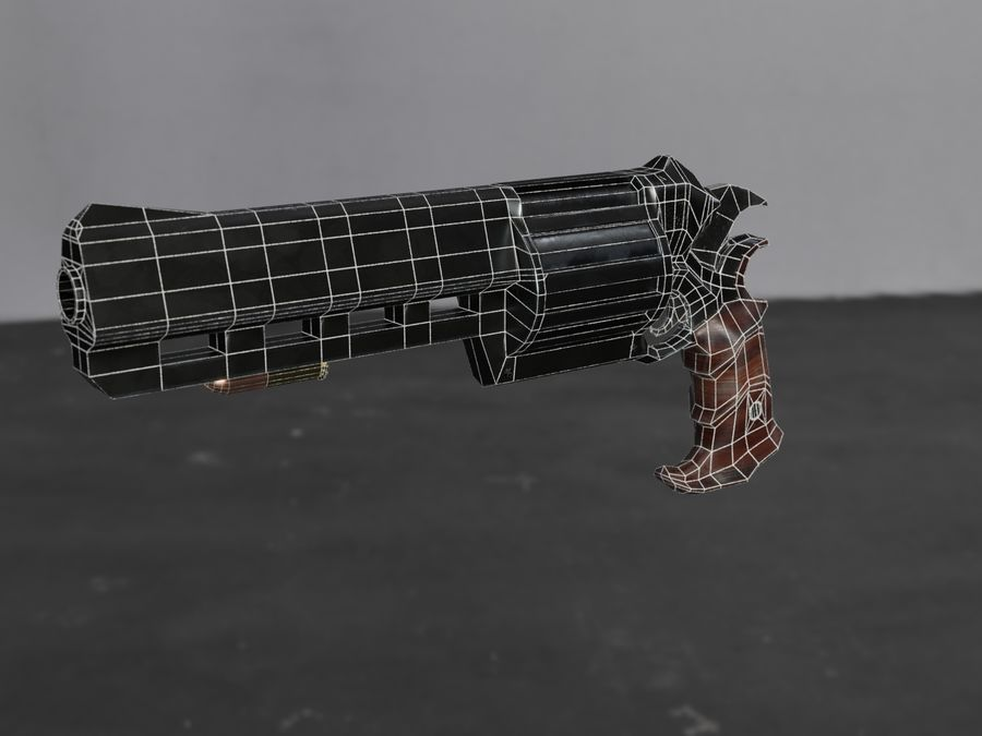 Skull Buster Revolver Pistool royalty-free 3d model - Preview no. 31