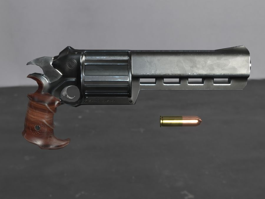 Skull Buster Revolver Pistool royalty-free 3d model - Preview no. 23