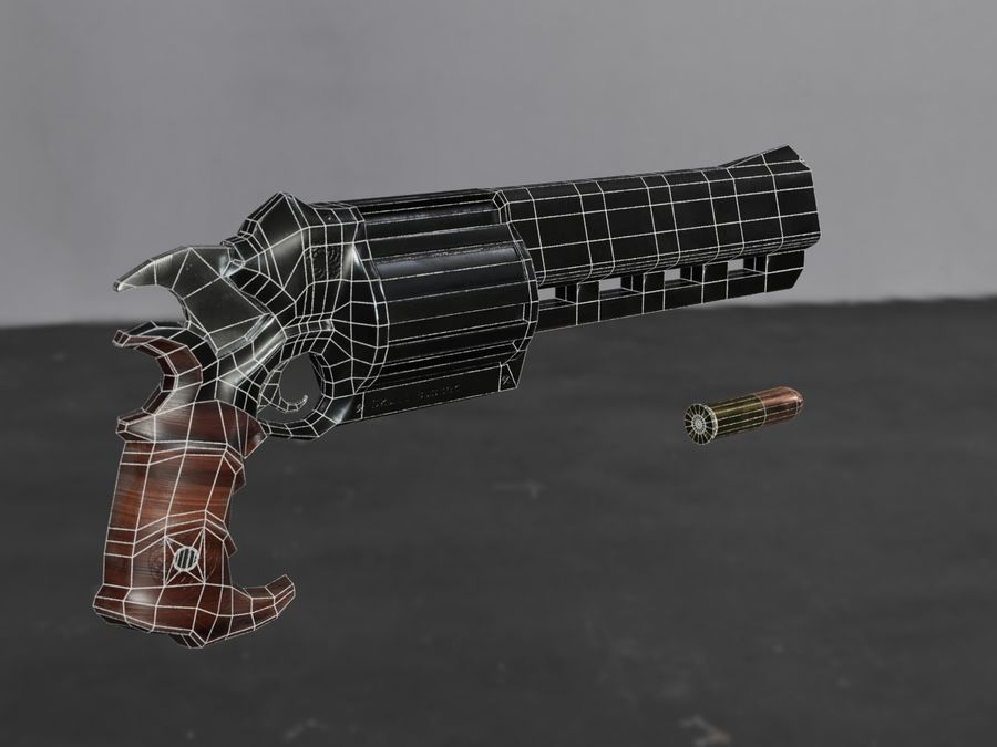 Skull Buster Revolver Pistool royalty-free 3d model - Preview no. 26