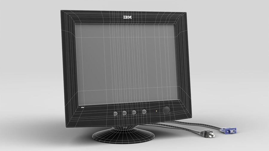 CRT PC Monitor royalty-free 3d model - Preview no. 9
