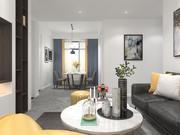 Sypialnia, pokój dzienny i jadalnia 3d model