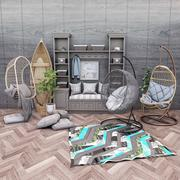 Wiszące krzesła Rohtang, półki na książki, kajaki i rośliny doniczkowe 3d model