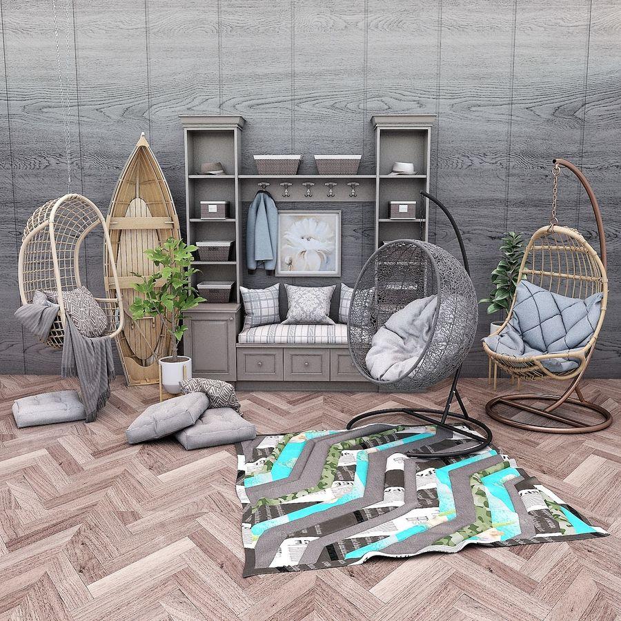 Wiszące krzesła Rohtang, półki na książki, kajaki i rośliny doniczkowe royalty-free 3d model - Preview no. 1