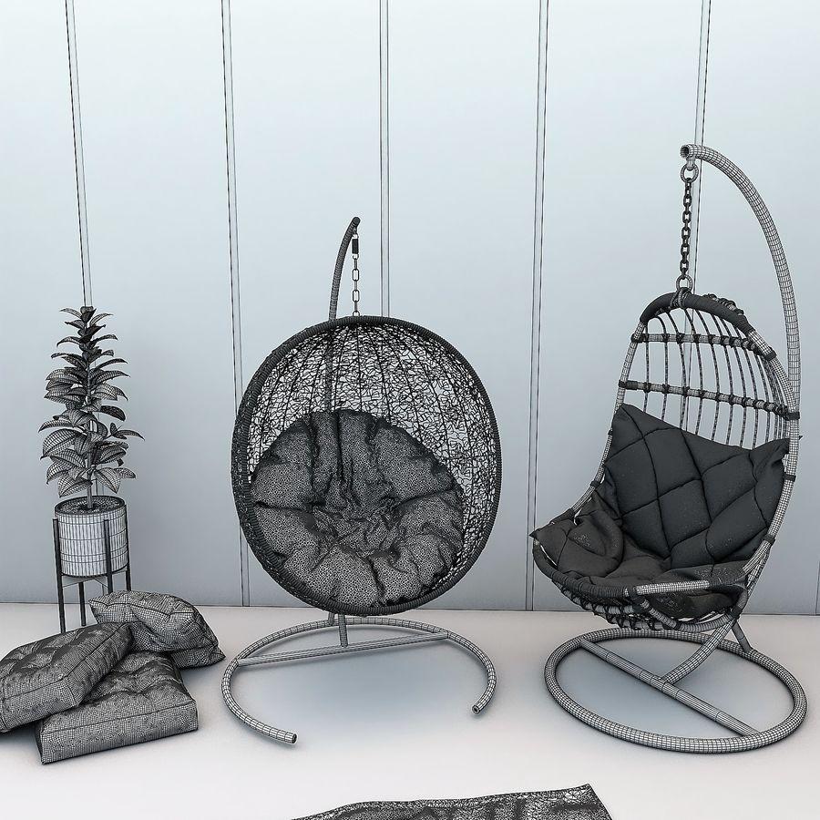 Wiszące krzesła Rohtang, półki na książki, kajaki i rośliny doniczkowe royalty-free 3d model - Preview no. 6