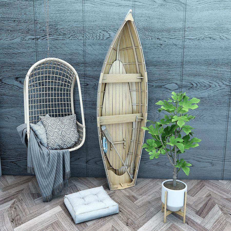 Wiszące krzesła Rohtang, półki na książki, kajaki i rośliny doniczkowe royalty-free 3d model - Preview no. 4
