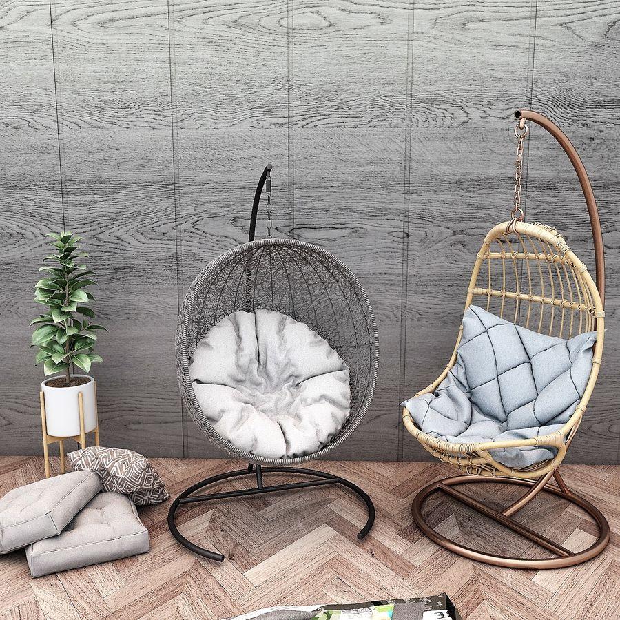 Wiszące krzesła Rohtang, półki na książki, kajaki i rośliny doniczkowe royalty-free 3d model - Preview no. 5