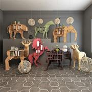 木制装饰动物人物 3d model