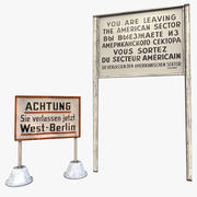 Aviso de Berlim Ocidental - conjunto de sinal de fronteira do setor americano 3d model