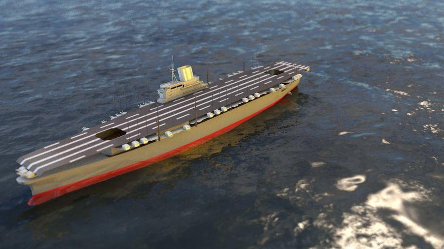Shinano Japanese Aircraft Carrier royalty-free 3d model - Preview no. 6