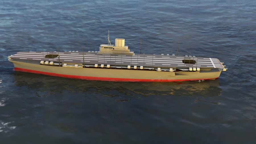 Shinano Japanese Aircraft Carrier royalty-free 3d model - Preview no. 8