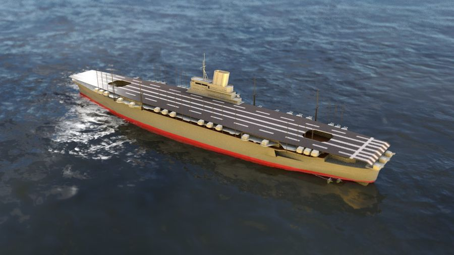 Shinano Japanese Aircraft Carrier royalty-free 3d model - Preview no. 9