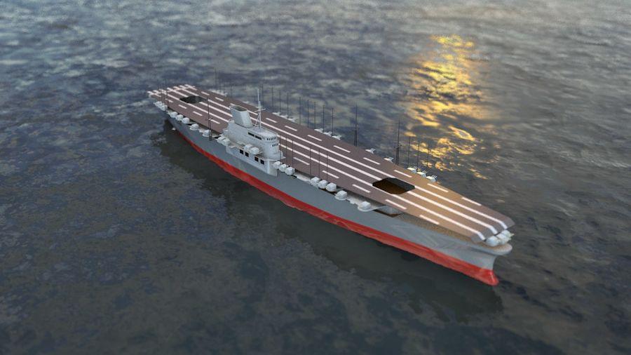 Shinano Japanese Aircraft Carrier royalty-free 3d model - Preview no. 2