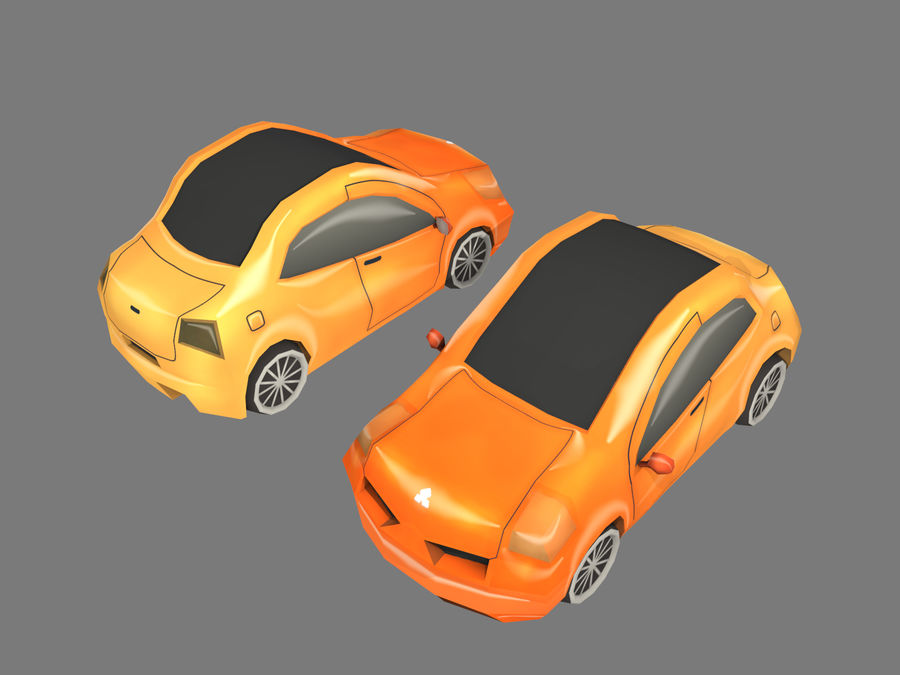 Tecknad bil royalty-free 3d model - Preview no. 8