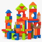 Castle Wooden Building Block Set 3d model