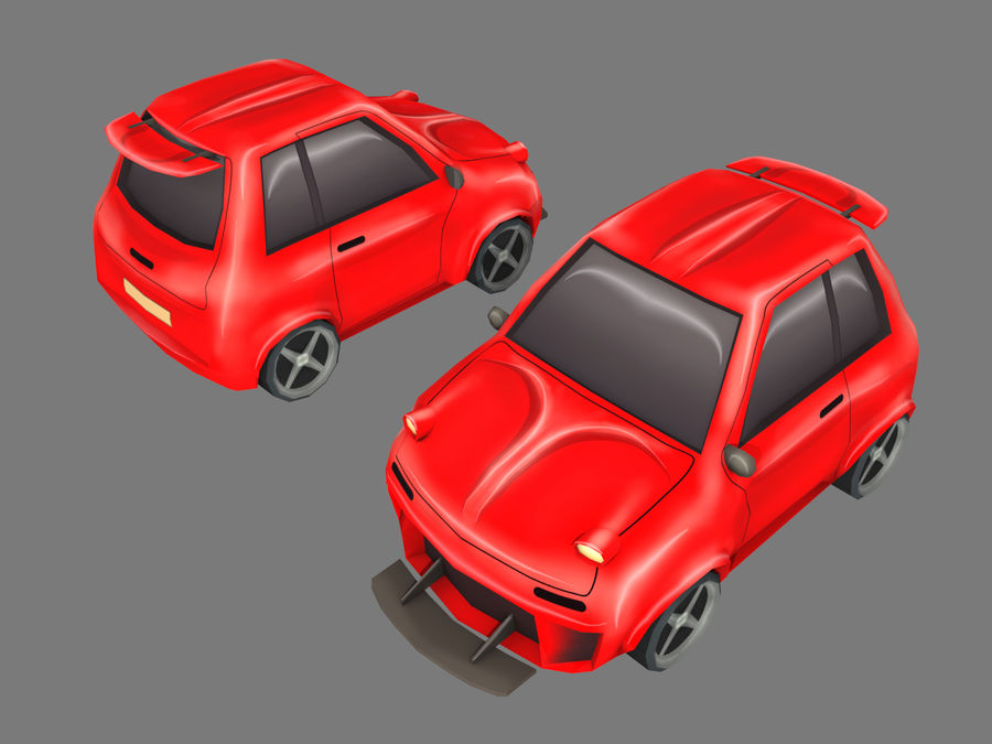 Coche de dibujos animados royalty-free modelo 3d - Preview no. 8