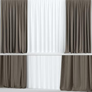 Wide brown curtains 3d model