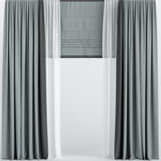 Curtains with Roman and tulle 3d model