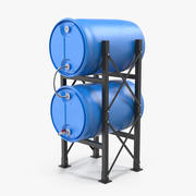 Rund plastförvaring med dubbla tunnor 3d model